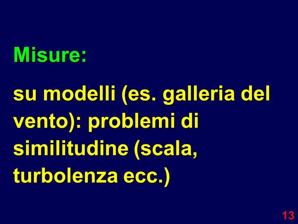 13 Misure: su modelli (es. galleria del vento): problemi di similitudine (scala, turbolenza ecc.)