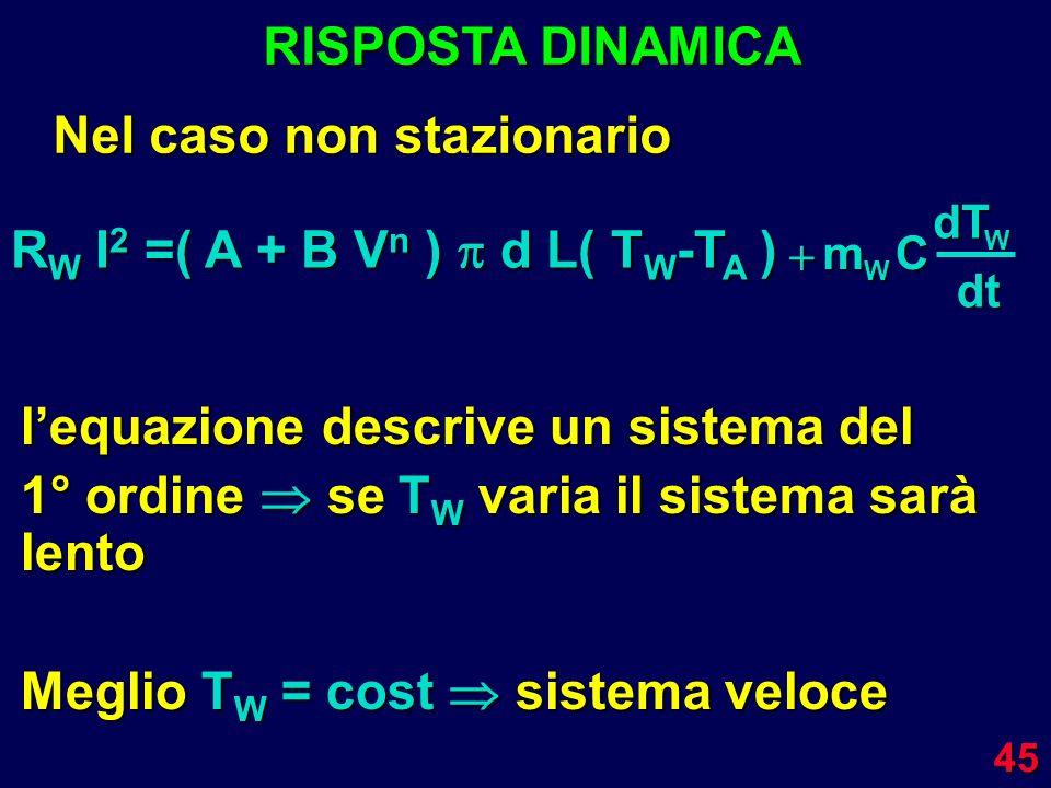 45 RISPOSTA DINAMICA Nel caso non stazionario m W CdTW dt lequazione descrive un sistema del 1° ordine se T W varia il sistema sarà lento Meglio T W =