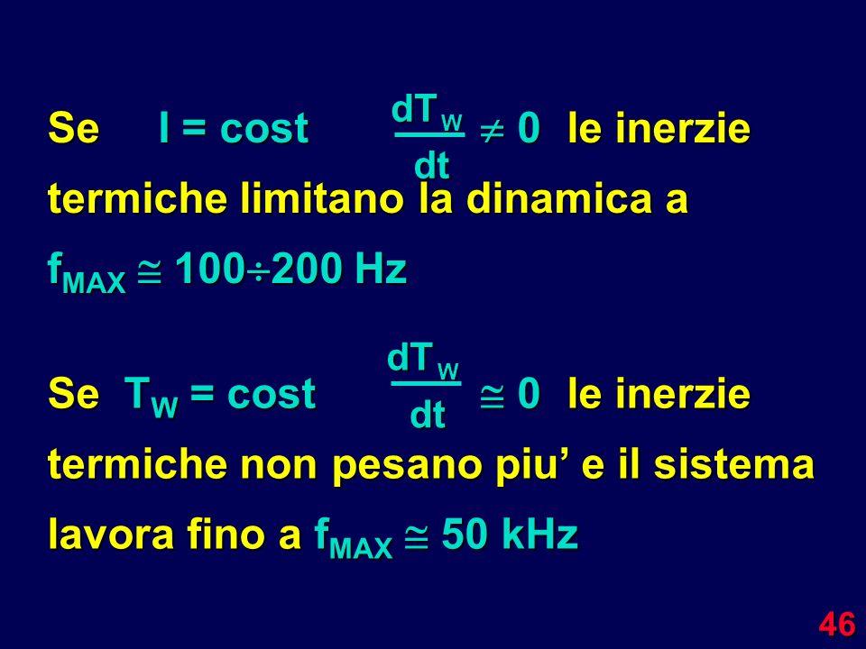 46 Se I = cost 0le inerzie termiche limitano la dinamica a f MAX 100 200 Hz dTW dt Se T W = cost 0le inerzie termiche non pesano piu e il sistema lavo
