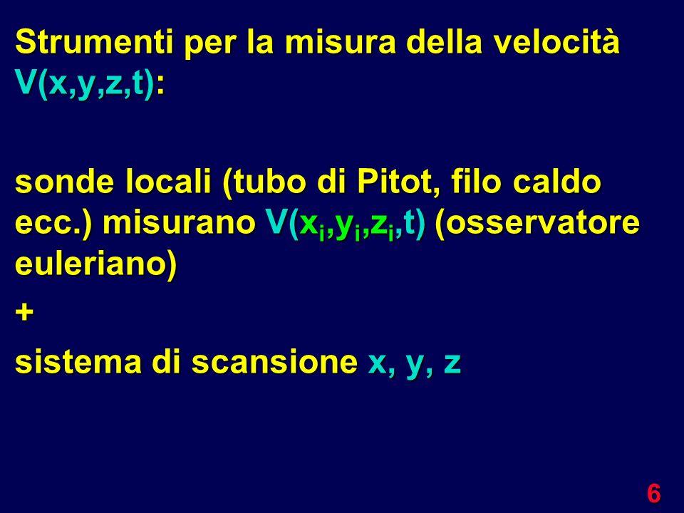 6 Strumenti per la misura della velocità V(x,y,z,t): sonde locali (tubo di Pitot, filo caldo ecc.) misurano V(x i,y i,z i,t) (osservatore euleriano) +