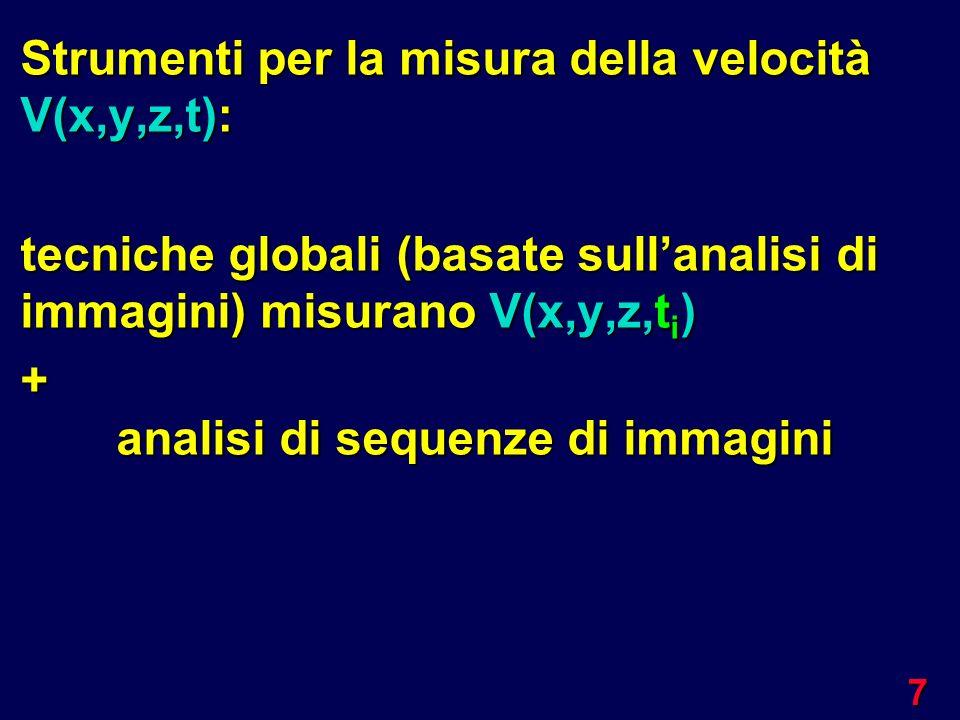7 Strumenti per la misura della velocità V(x,y,z,t): tecniche globali (basate sullanalisi di immagini) misurano V(x,y,z,t i ) + analisi di sequenze di