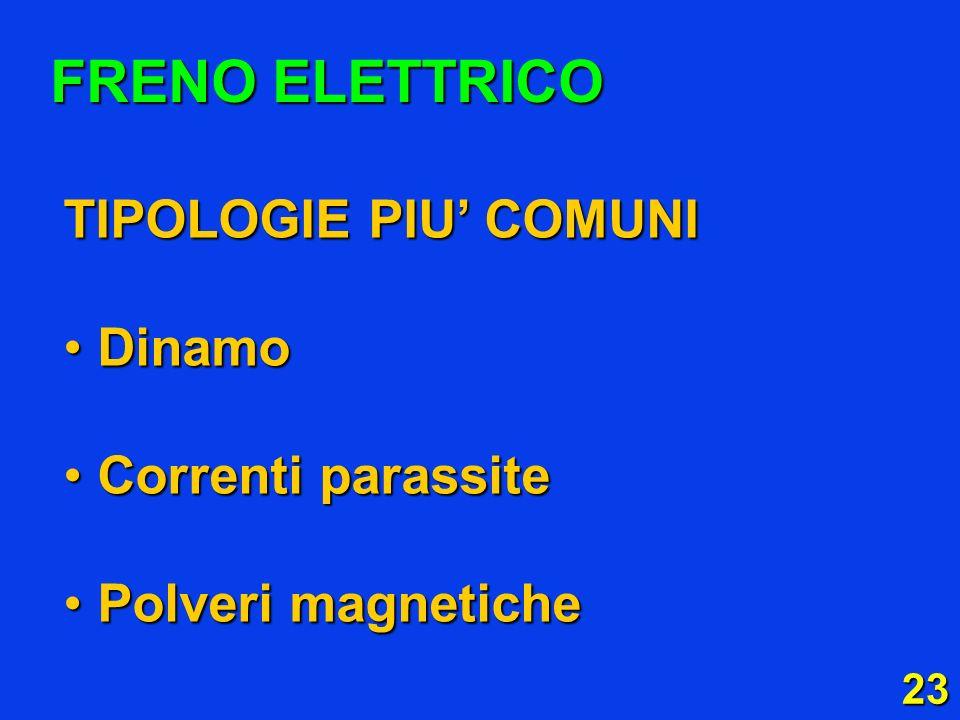 23 FRENO ELETTRICO TIPOLOGIE PIU COMUNI Dinamo Dinamo Correnti parassite Correnti parassite Polveri magnetiche Polveri magnetiche