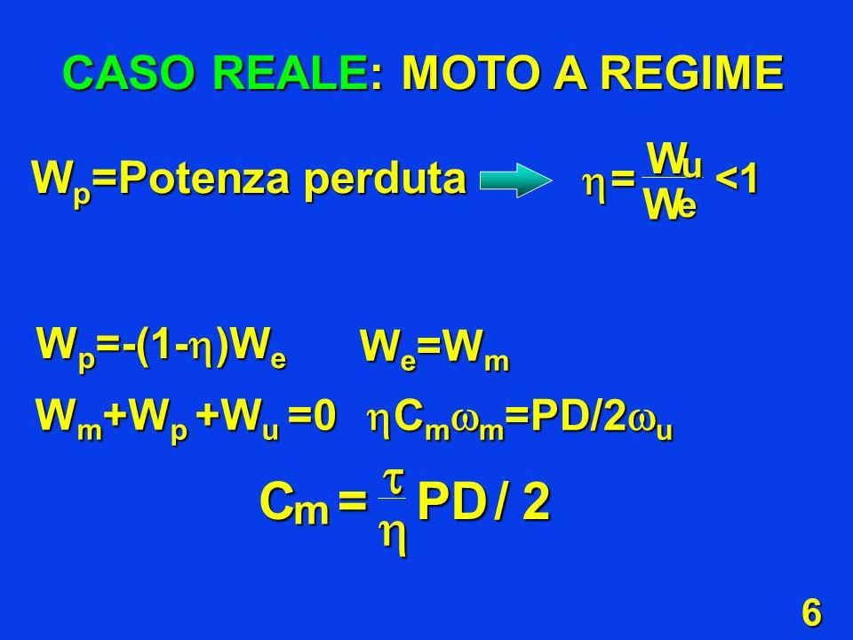 6 CASO REALE: MOTO A REGIME W p =-(1- )W e W e =W m W m +W p +W u =0 C m m =PD/2 u C m m =PD/2 u CPD m =/2 W p =Potenza perduta WW = u e <1