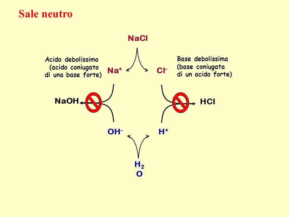 NaCl Na + Cl - OH - H + H2OH2O Base debolissima (base coniugata di un acido forte) HCl NaOH Acido debolissimo (acido coniugato di una base forte) Sale