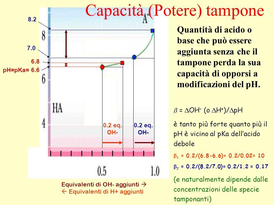 Equivalenti di OH- aggiunti Equivalenti di H+ aggiunti = OH - (o H + )/ pH è tanto più forte quanto più il pH è vicino al pKa dellacido debole = 0.2/(