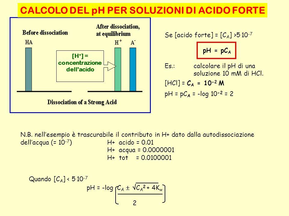 CALCOLO DEL pH PER SOLUZIONI DI ACIDO FORTE Se [acido forte] = [C A ] >5. 10 -7 pH = pC A Es.:calcolare il pH di una soluzione 10 mM di HCl. [HCl] = C