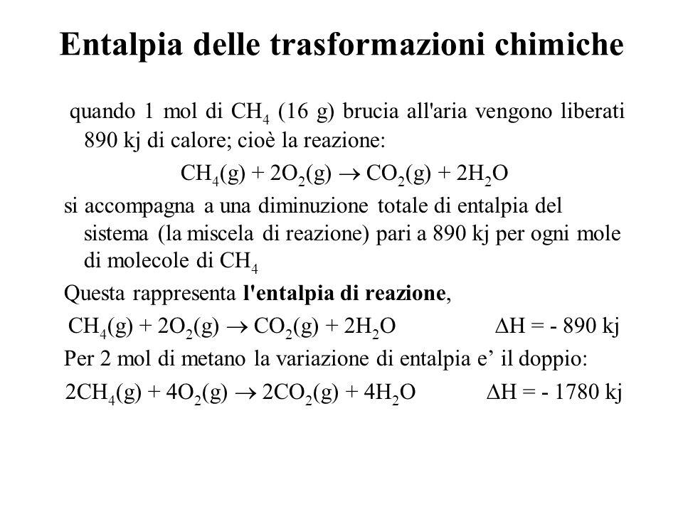 Entalpia delle trasformazioni chimiche quando 1 mol di CH 4 (16 g) brucia all aria vengono liberati 890 kj di calore; cioè la reazione: CH 4 (g) + 2O 2 (g) CO 2 (g) + 2H 2 O si accompagna a una diminuzione totale di entalpia del sistema (la miscela di reazione) pari a 890 kj per ogni mole di molecole di CH 4 Questa rappresenta l entalpia di reazione, CH 4 (g) + 2O 2 (g) CO 2 (g) + 2H 2 O H = - 890 kj Per 2 mol di metano la variazione di entalpia e il doppio: 2CH 4 (g) + 4O 2 (g) 2CO 2 (g) + 4H 2 O H = - 1780 kj