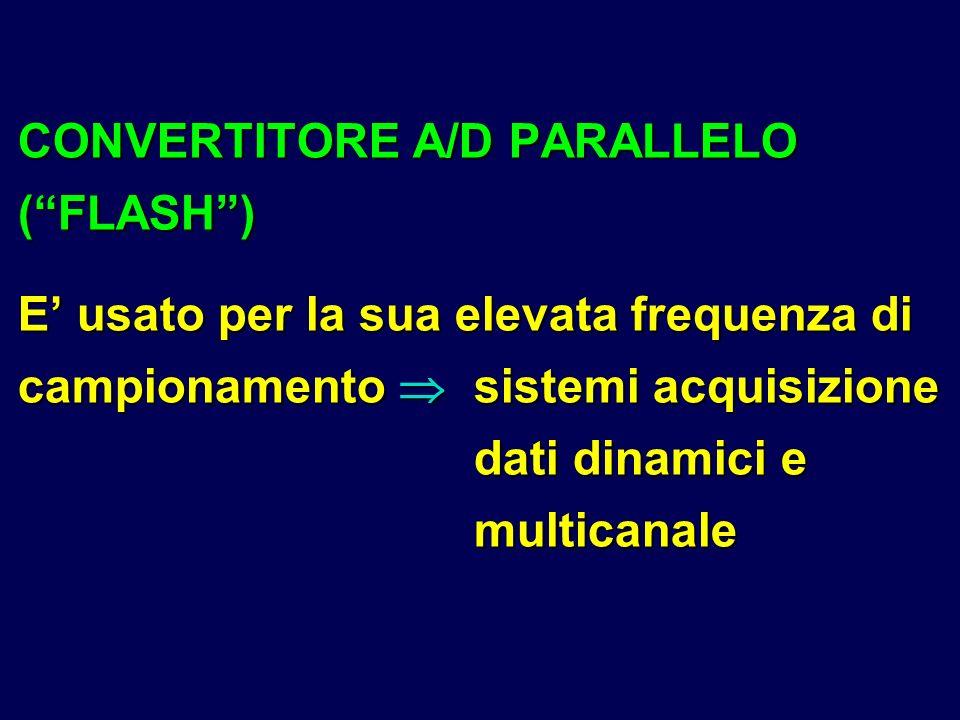 CONVERTITORE A/D PARALLELO (FLASH) E usato per la sua elevata frequenza di campionamento sistemi acquisizione dati dinamici e multicanale