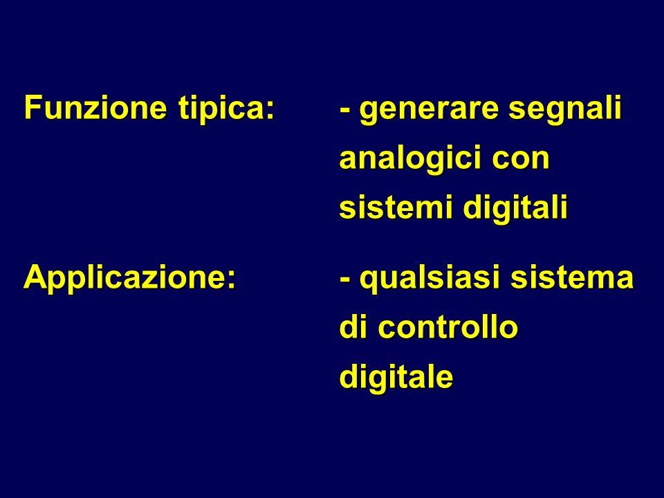 Funzione tipica:- generare segnali analogici con sistemi digitali Applicazione:- qualsiasi sistema di controllo digitale
