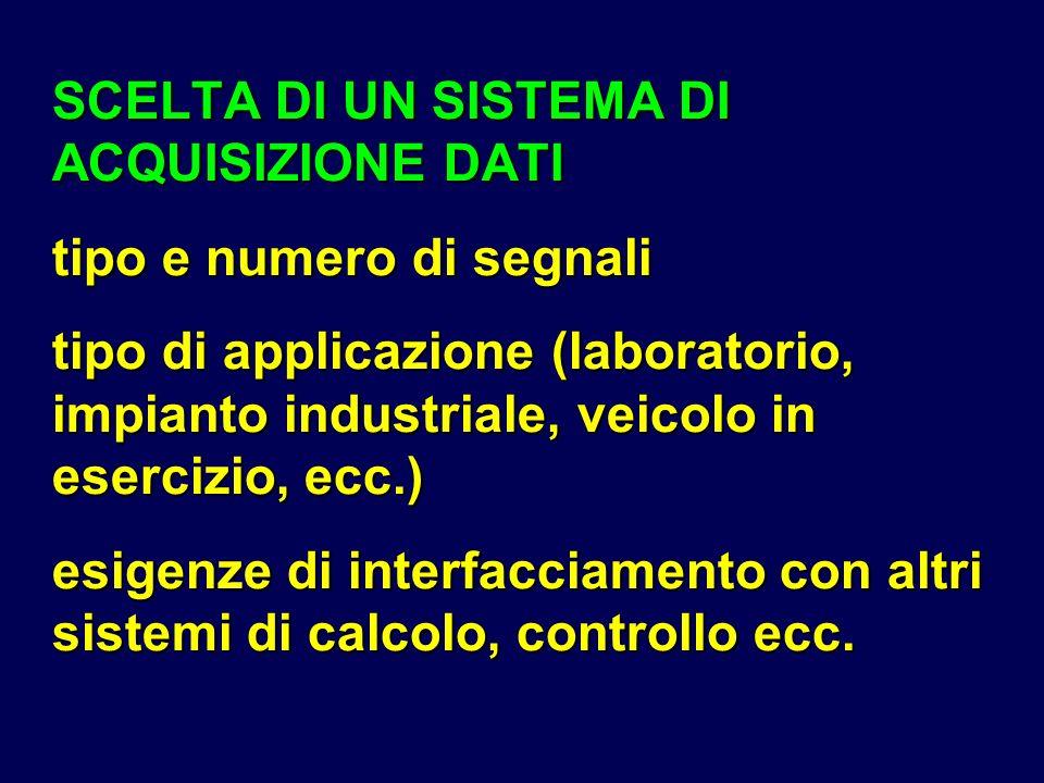 SCELTA DI UN SISTEMA DI ACQUISIZIONE DATI tipo e numero di segnali tipo di applicazione (laboratorio, impianto industriale, veicolo in esercizio, ecc.