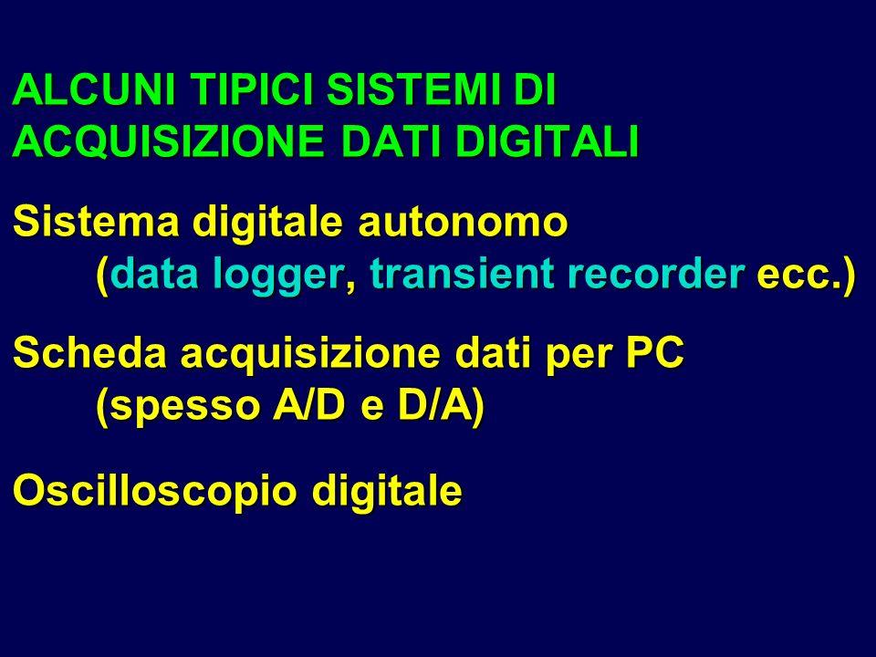 ALCUNI TIPICI SISTEMI DI ACQUISIZIONE DATI DIGITALI Sistema digitale autonomo (data logger, transient recorder ecc.) Scheda acquisizione dati per PC (