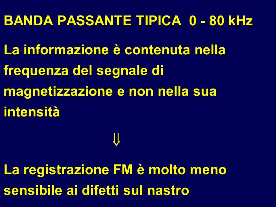 BANDA PASSANTE TIPICA 0 - 80 kHz La informazione è contenuta nella frequenza del segnale di magnetizzazione e non nella sua intensità La registrazione