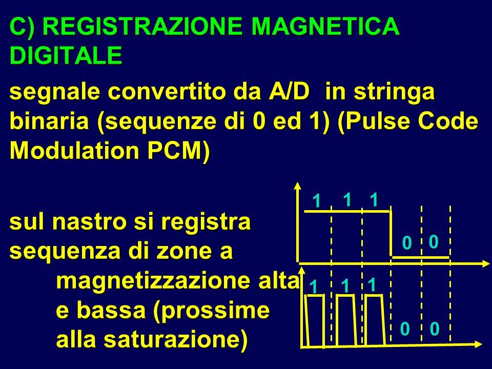 C) REGISTRAZIONE MAGNETICA DIGITALE segnale convertito da A/D in stringa binaria (sequenze di 0 ed 1) (Pulse Code Modulation PCM) sul nastro si regist