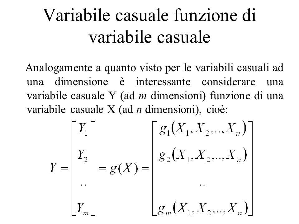 Variabile casuale funzione di variabile casuale Analogamente a quanto visto per le variabili casuali ad una dimensione è interessante considerare una