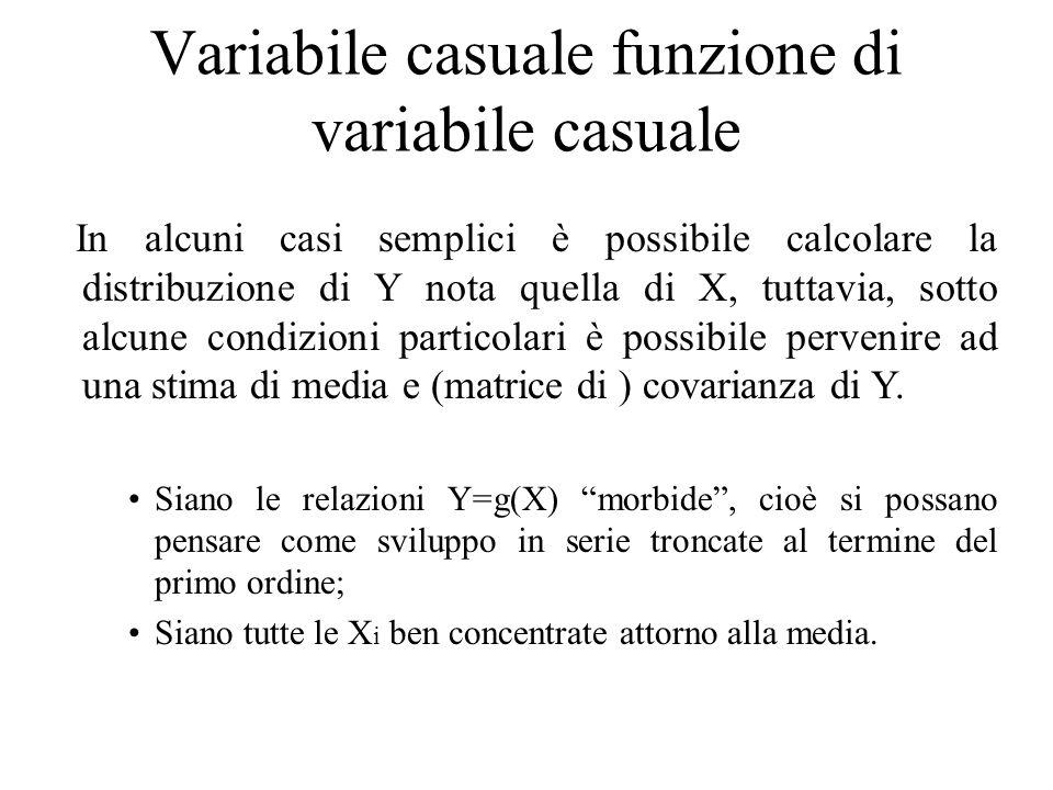 Variabile casuale funzione di variabile casuale In alcuni casi semplici è possibile calcolare la distribuzione di Y nota quella di X, tuttavia, sotto
