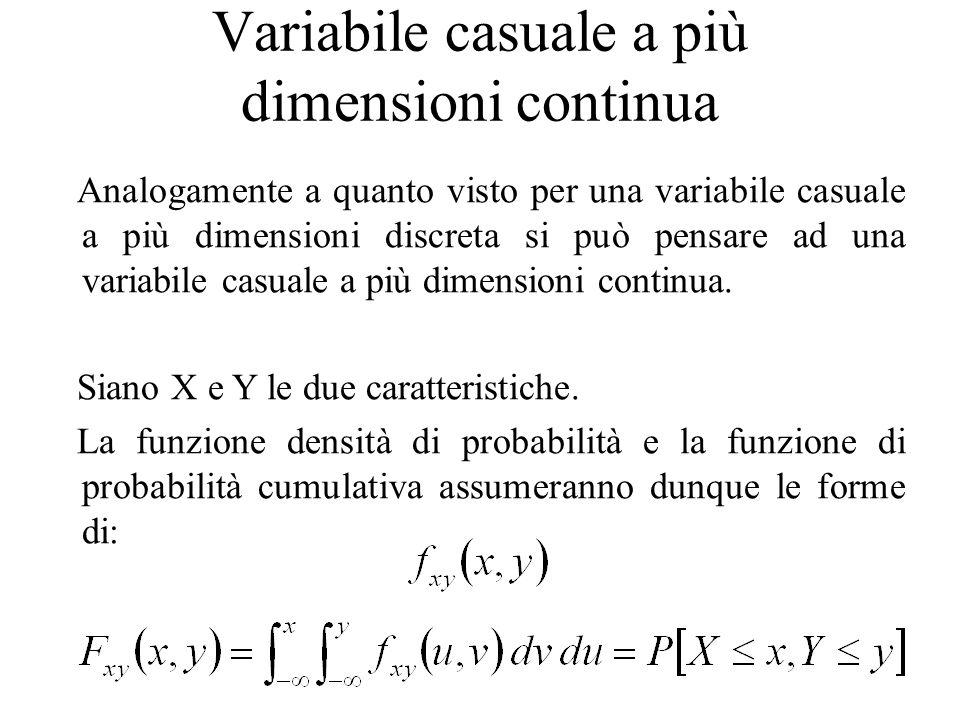 Variabile casuale a più dimensioni continua Analogamente a quanto visto per una variabile casuale a più dimensioni discreta si può pensare ad una vari