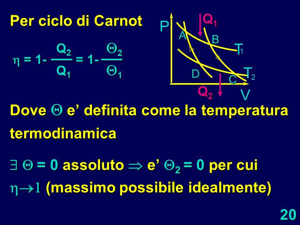 20 Dove e definita come la temperatura termodinamica = 0 assoluto e 2 = 0 per cui (massimo possibile idealmente) = 0 assoluto e 2 = 0 per cui (massimo