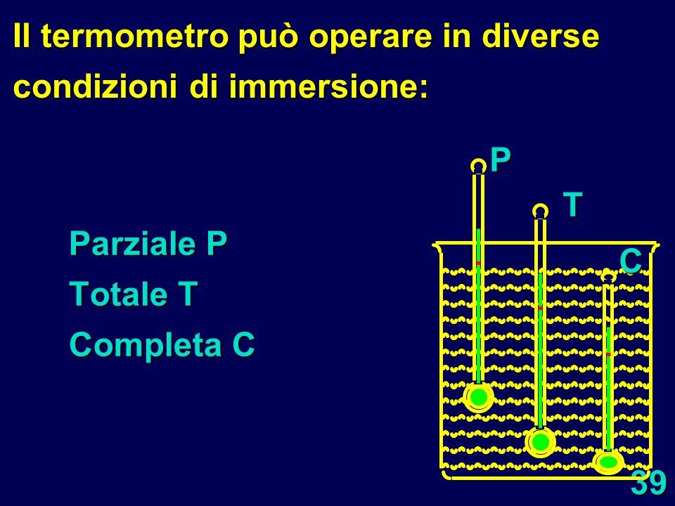 39 Parziale P Totale T Completa C PT C Il termometro può operare in diverse condizioni di immersione: