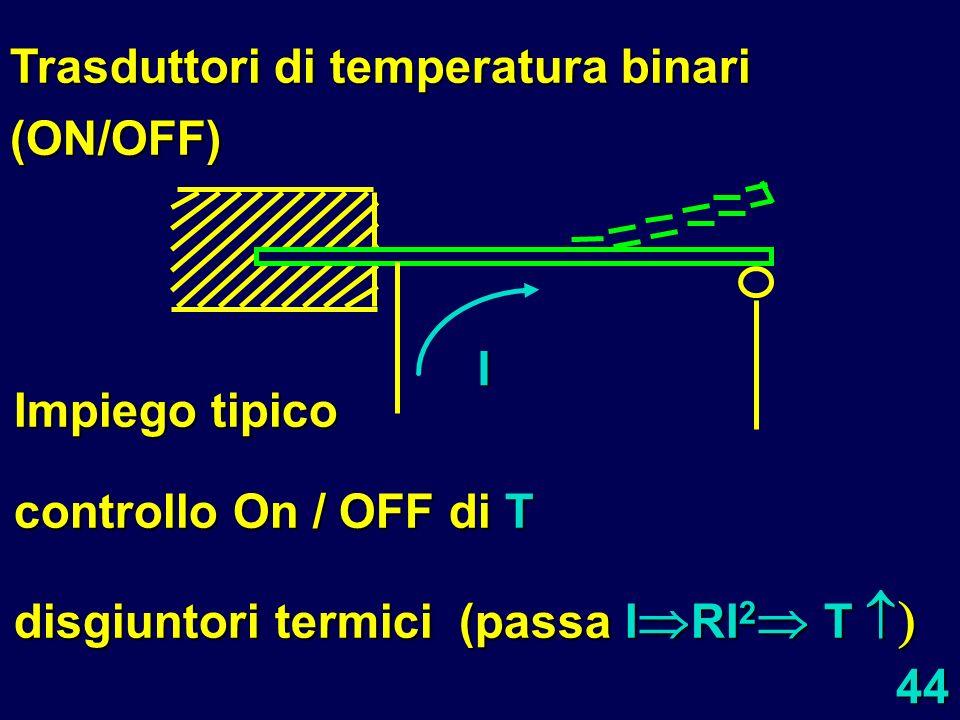 44 I Trasduttori di temperatura binari (ON/OFF) Impiego tipico controllo On / OFF di T disgiuntori termici (passa I RI 2 T