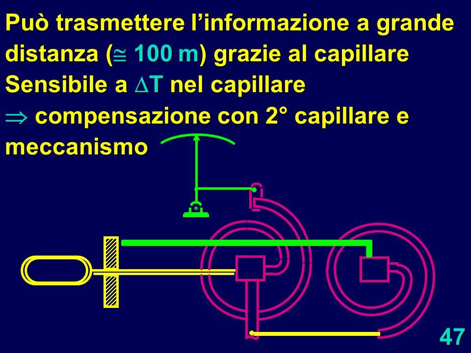 47 Può trasmettere linformazione a grande distanza ( 100 m) grazie al capillare Sensibile a T nel capillare compensazione con 2° capillare e meccanism