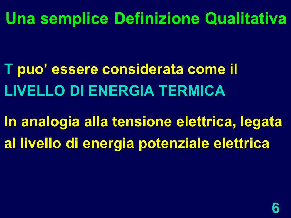 6 T puo essere considerata come il LIVELLO DI ENERGIA TERMICA In analogia alla tensione elettrica, legata al livello di energia potenziale elettrica U