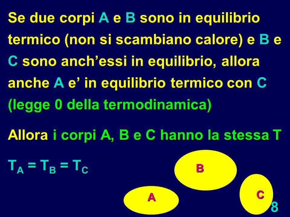 8 Se due corpi A e B sono in equilibrio termico (non si scambiano calore) e B e C sono anchessi in equilibrio, allora anche A e in equilibrio termico