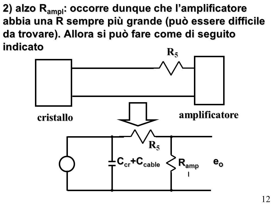 12 2) alzo R ampl : occorre dunque che lamplificatore abbia una R sempre più grande (può essere difficile da trovare). Allora si può fare come di segu