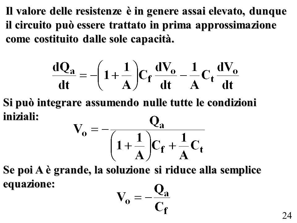24 Il valore delle resistenze è in genere assai elevato, dunque il circuito può essere trattato in prima approssimazione come costituito dalle sole ca