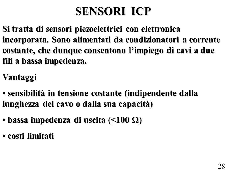 28 SENSORI ICP Si tratta di sensori piezoelettrici con elettronica incorporata. Sono alimentati da condizionatori a corrente costante, che dunque cons