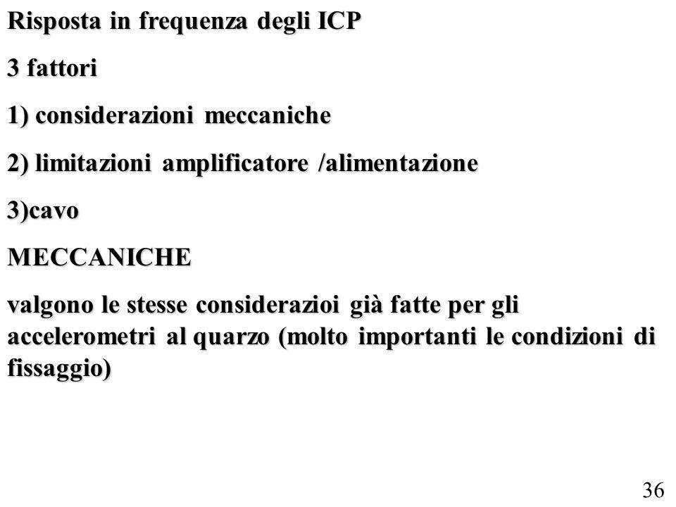 36 Risposta in frequenza degli ICP 3 fattori 1) considerazioni meccaniche 2) limitazioni amplificatore /alimentazione 3)cavoMECCANICHE valgono le stes