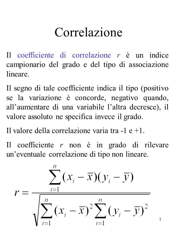 1 Correlazione Il coefficiente di correlazione r è un indice campionario del grado e del tipo di associazione lineare. Il segno di tale coefficiente i