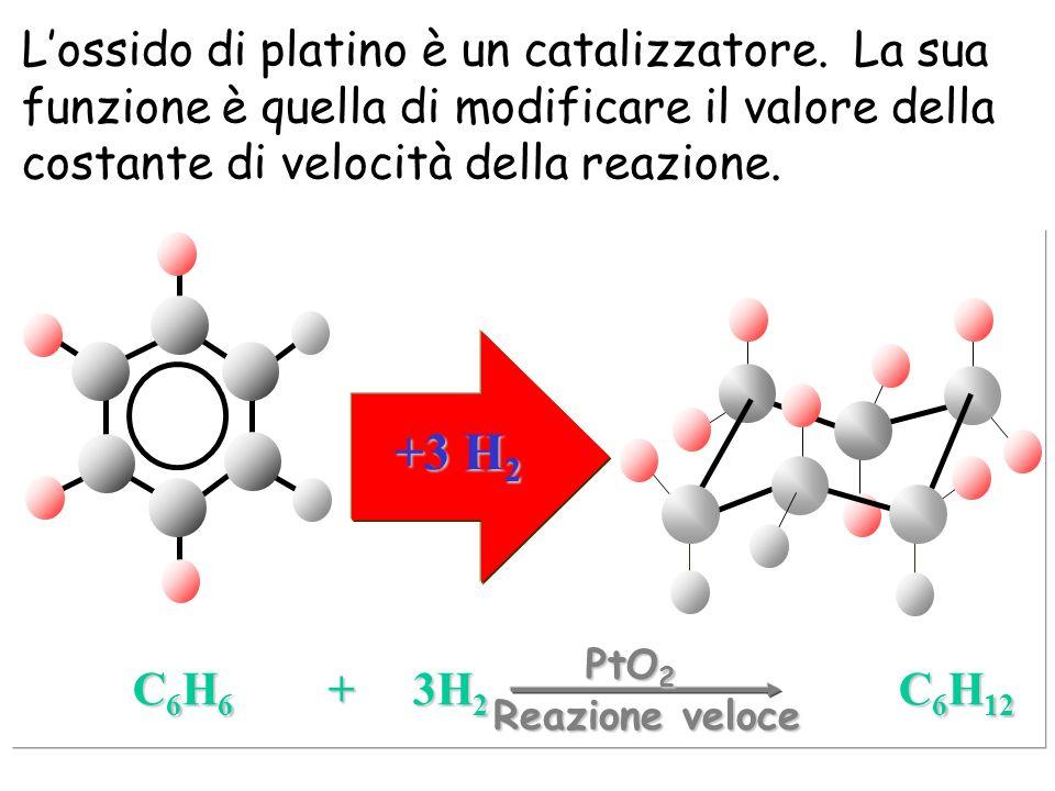 +3 H 2 C 6 H 6 + 3H 2 C 6 H 12 Reazione veloce Lossido di platino è un catalizzatore. La sua funzione è quella di modificare il valore della costante