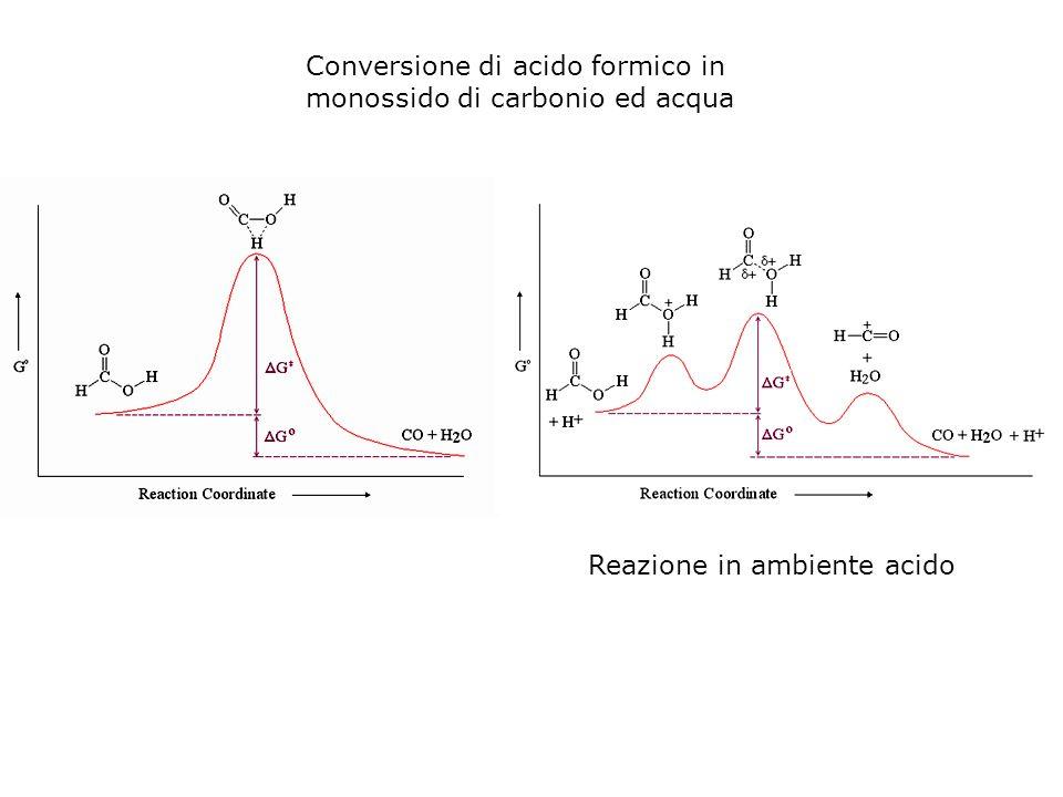 Conversione di acido formico in monossido di carbonio ed acqua Reazione in ambiente acido