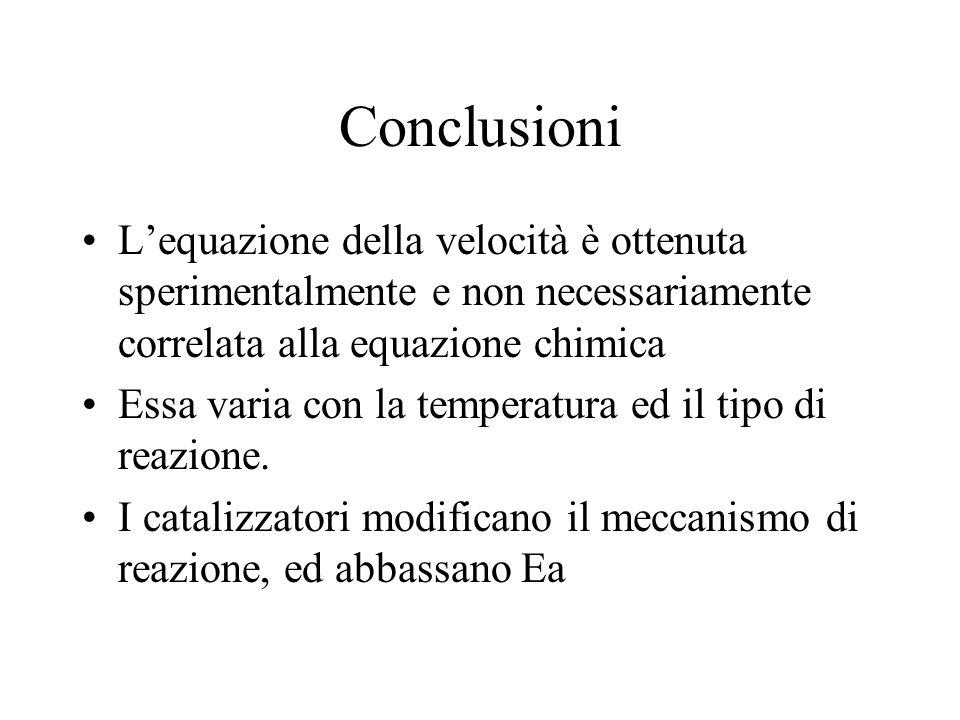 Conclusioni Lequazione della velocità è ottenuta sperimentalmente e non necessariamente correlata alla equazione chimica Essa varia con la temperatura ed il tipo di reazione.