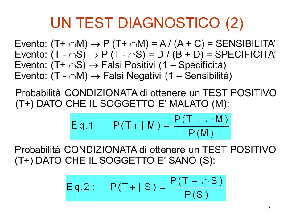4 UN TEST DIAGNOSTICO (3) Ciò che interessa è la probabilità che IL SOGGETTO SIA MALATO DATO un TEST POSITIVO: Probabilità CONDIZIONATA CHE IL SOGGETTO SIA MALATO (M) DATO un TEST POSITIVO (T+) : Il numeratore è ottenuto dallEq.1 Il denominatore [P(T+)] è ottenuto dallEq.