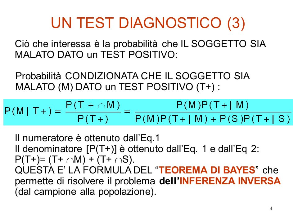 5 UN TEST DIAGNOSTICO (4) VALORE PREDITTIVO POSITIVO (VP+): PROBABILITA CONDIZIONATA CHE IL SOGGETTO SIA MALATO (M) DATO un TEST POSITIVO (T+): VALORE PREDITTIVO NEGATIVO (VP-): PROBABILITA CONDIZIONATA CHE IL SOGGETTO NON SIA MALATO (S) DATO un TEST NEGATIVO (T-):