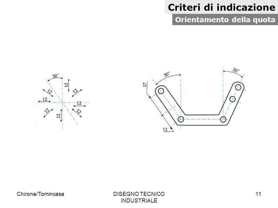 Chirone/TornincasaDISEGNO TECNICO INDUSTRIALE 11 Criteri di indicazione Orientamento della quota