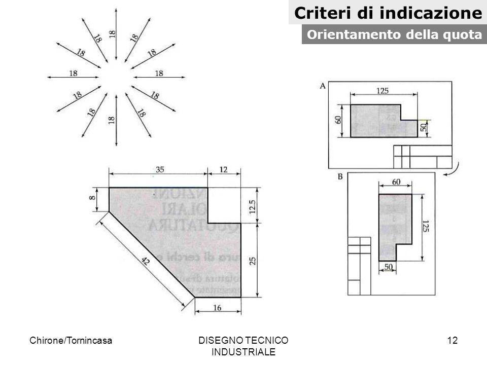 Chirone/TornincasaDISEGNO TECNICO INDUSTRIALE 12 Criteri di indicazione Orientamento della quota