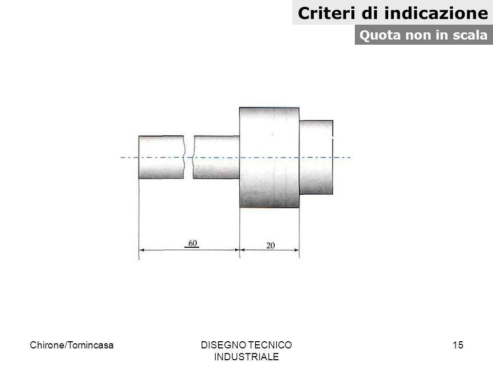Chirone/TornincasaDISEGNO TECNICO INDUSTRIALE 15 Criteri di indicazione Quota non in scala
