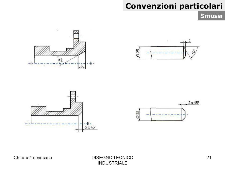 Chirone/TornincasaDISEGNO TECNICO INDUSTRIALE 21 Convenzioni particolari Smussi