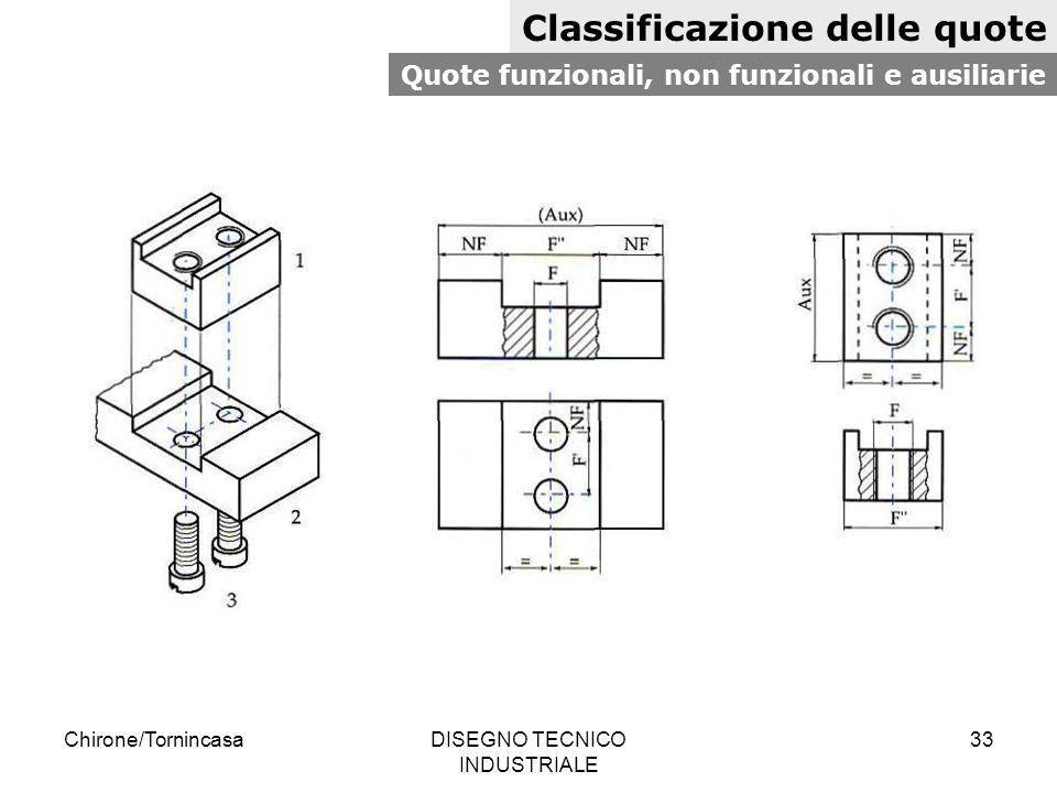 Chirone/TornincasaDISEGNO TECNICO INDUSTRIALE 33 Classificazione delle quote Quote funzionali, non funzionali e ausiliarie