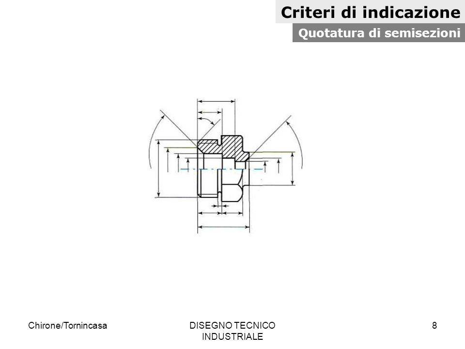 Chirone/TornincasaDISEGNO TECNICO INDUSTRIALE 8 Criteri di indicazione Quotatura di semisezioni
