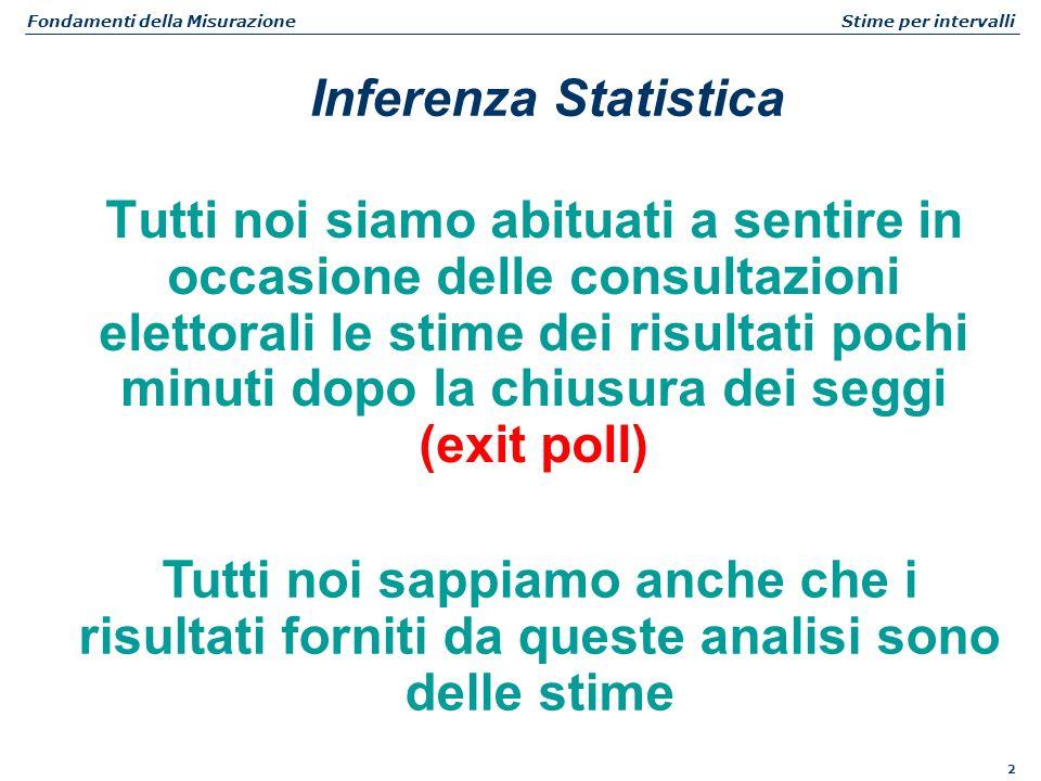 2 Fondamenti della Misurazione Stime per intervalli Tutti noi siamo abituati a sentire in occasione delle consultazioni elettorali le stime dei risult