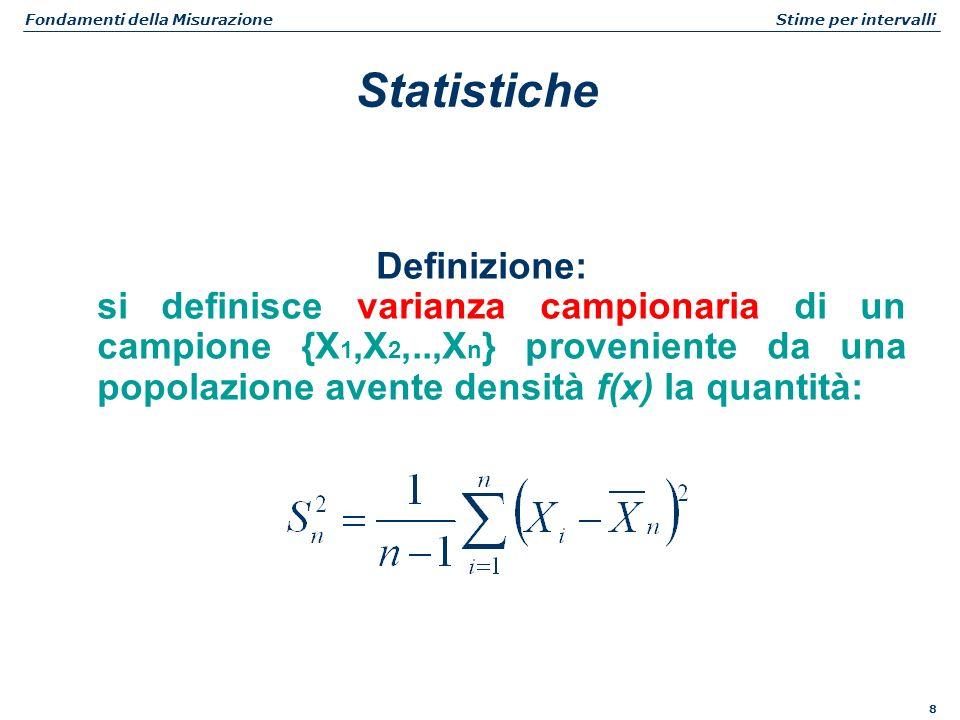 8 Fondamenti della Misurazione Stime per intervalli Definizione: si definisce varianza campionaria di un campione {X 1,X 2,..,X n } proveniente da una