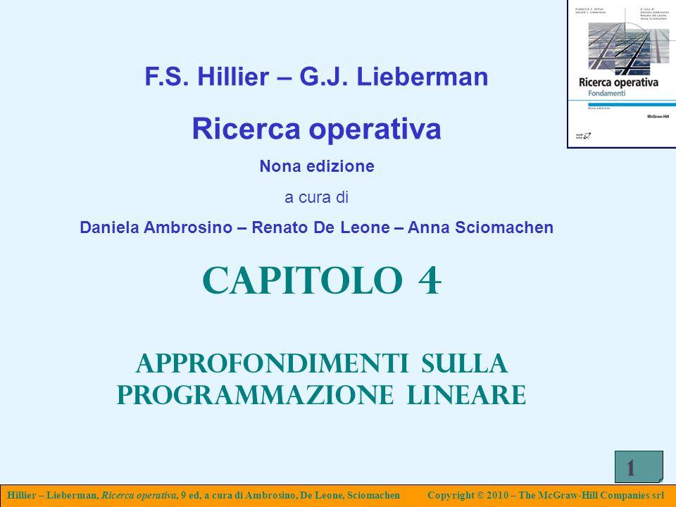 Hillier – Lieberman, Ricerca operativa, 9 ed, a cura di Ambrosino, De Leone, SciomachenCopyright © 2010 – The McGraw-Hill Companies srl 1 F.S. Hillier