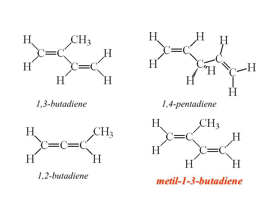 CC H H H CC H H H 2-metil-1,3-butadiene 1,2-butadienemetilbutadiene 1,4-pentadiene 1,3-butadiene 1,2-butadienepentadiene 1,4-pentadiene