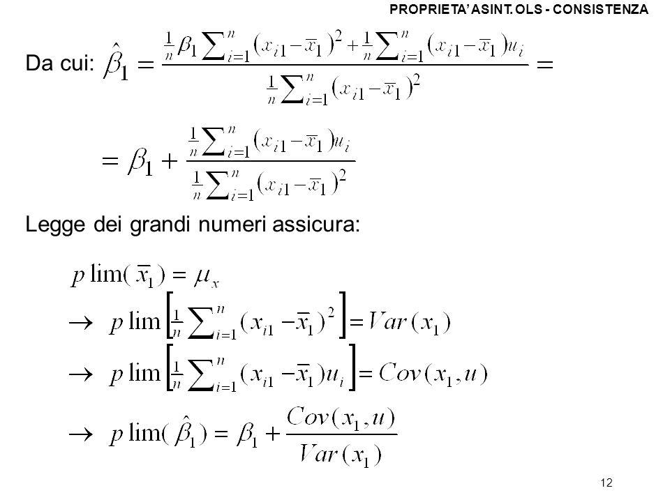 12 Da cui: Legge dei grandi numeri assicura: PROPRIETA ASINT. OLS - CONSISTENZA