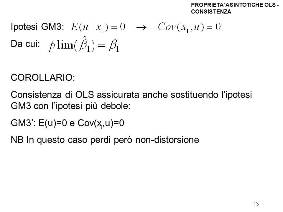 13 Ipotesi GM3: Da cui: COROLLARIO: Consistenza di OLS assicurata anche sostituendo lipotesi GM3 con lipotesi più debole: GM3: E(u)=0 e Cov(x j,u)=0 N
