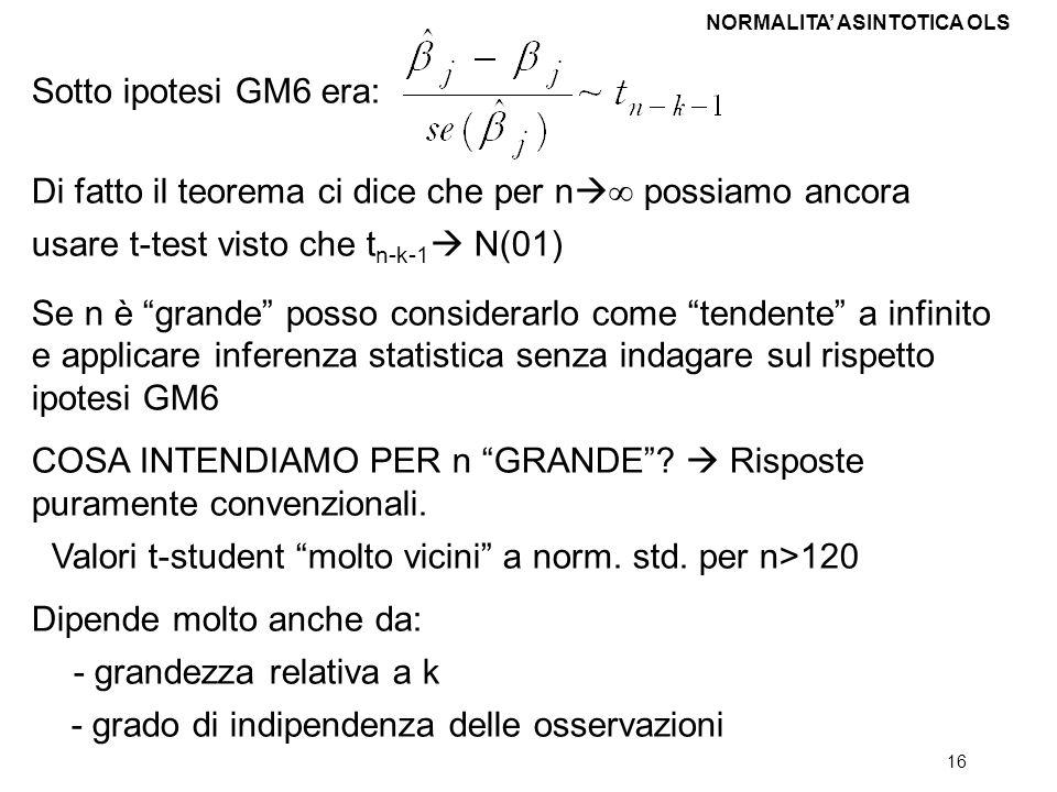 16 Sotto ipotesi GM6 era: Di fatto il teorema ci dice che per n possiamo ancora usare t-test visto che t n-k-1 N(01) Se n è grande posso considerarlo