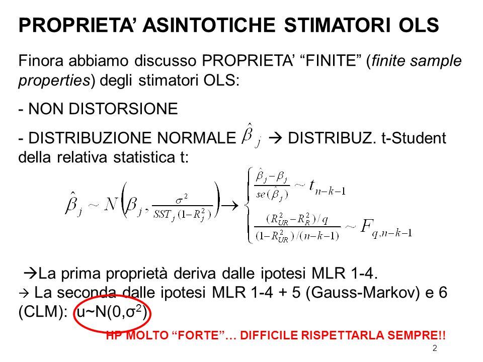 2 Finora abbiamo discusso PROPRIETA FINITE (finite sample properties) degli stimatori OLS: - NON DISTORSIONE - DISTRIBUZIONE NORMALE DISTRIBUZ. t-Stud